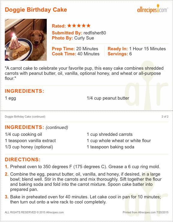 Doggie Birthday cake Recipe-Man's best friend